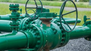 Gas valves on a natural gas pipeline.