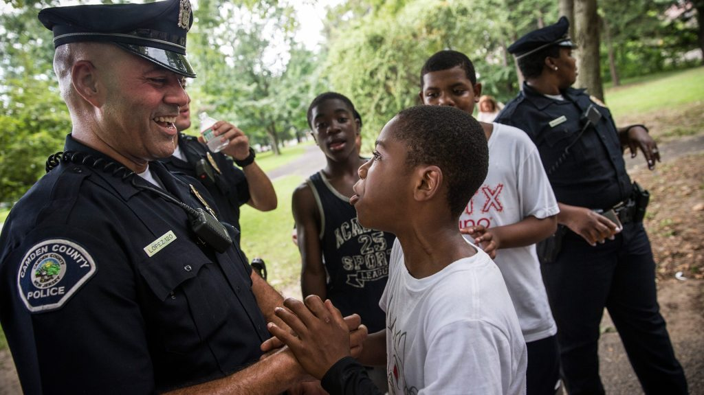 Camden County Officers joke with teens