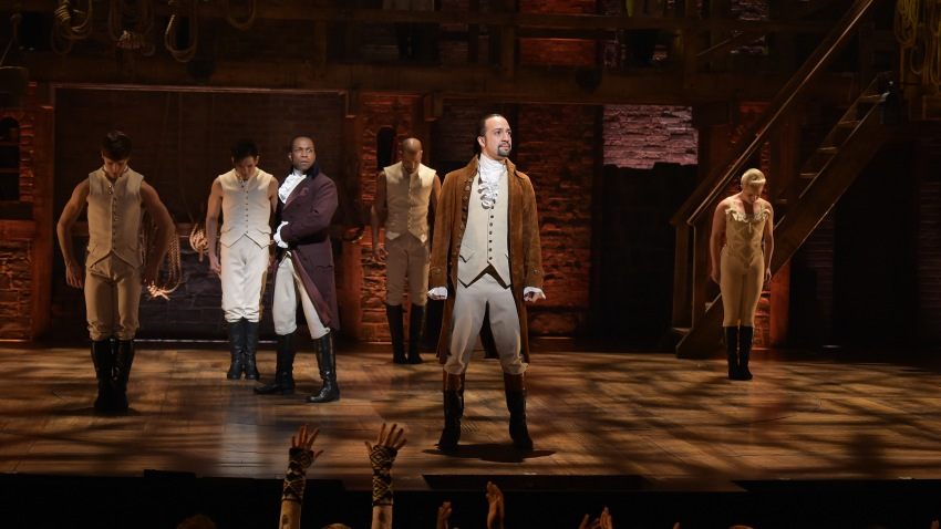 "Actor Leslie Odom, Jr. (L) and actor, composer Lin-Manuel Miranda (R) perform on stage during ""Hamilton"""