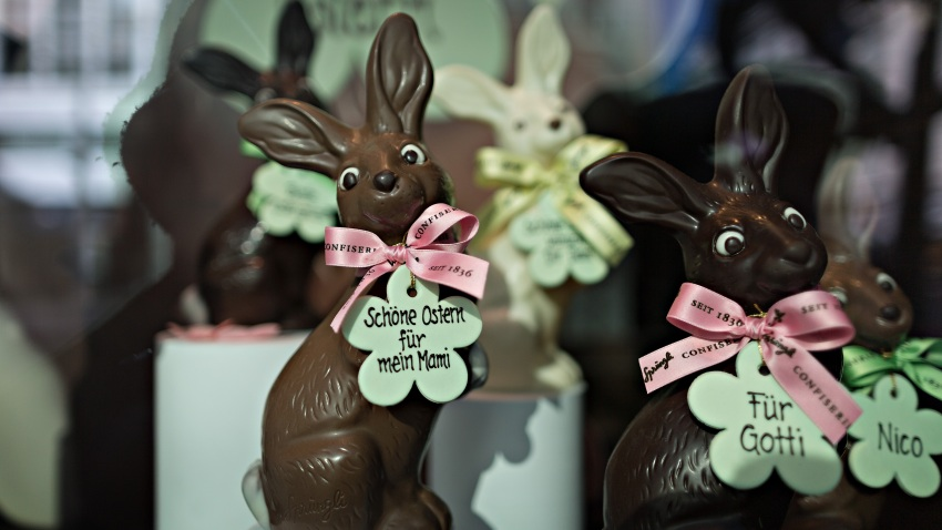 Chocolate bunny rabbits, produced by Lindt & Spruengli AG, sit on display in the window of a chocolatier on Bahnhofstrasse in Zurich, Switzerland, on Thursday, March 10, 2016. The Swiss economy returned to growth at the end of last year as it fought off the impact of a currency shock that had threatened to push the country into a recession.