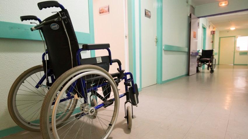 A wheelchair in a nursing home.