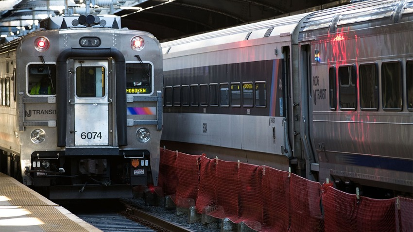 A New Jersey Transit train arrives at Hoboken Terminal during morning rush hour, October 10, 2016 in Hoboken, New Jersey.
