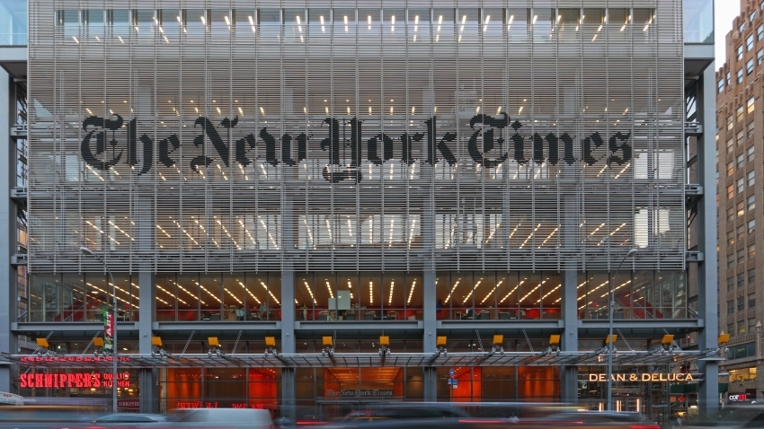 The New York Times Building at 8th Avenue in Midtown at Dawn