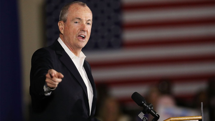 Democratic Gov. Phil Murphy speaks at a rally in Newark, New Jersey.