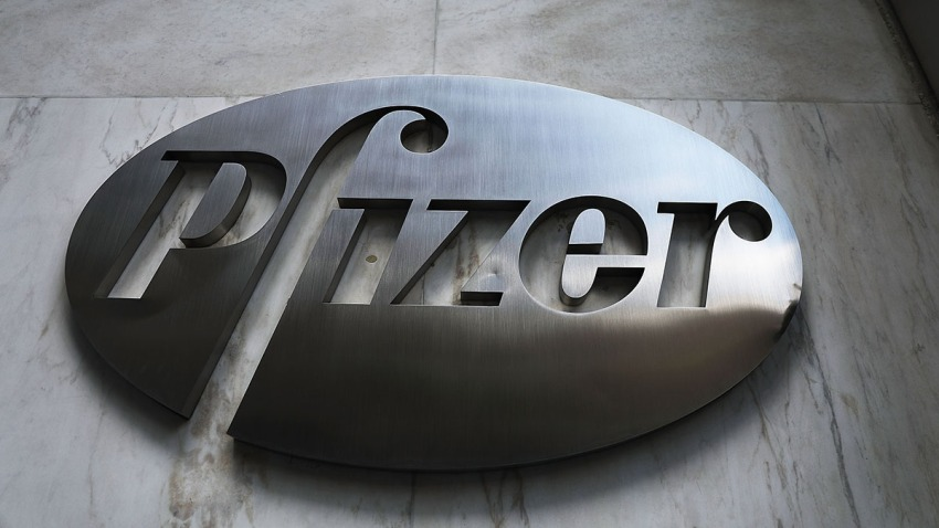 The Pfizer headquarters is seen in Manhattan on July 11, 2018 in New York City.