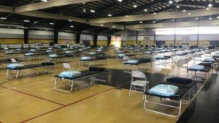 A look inside the temporary hospital set up inside the Glen Mills Schools