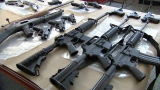 Some of the guns seized during the sting in the Fairhill and Kensington neighborhoods