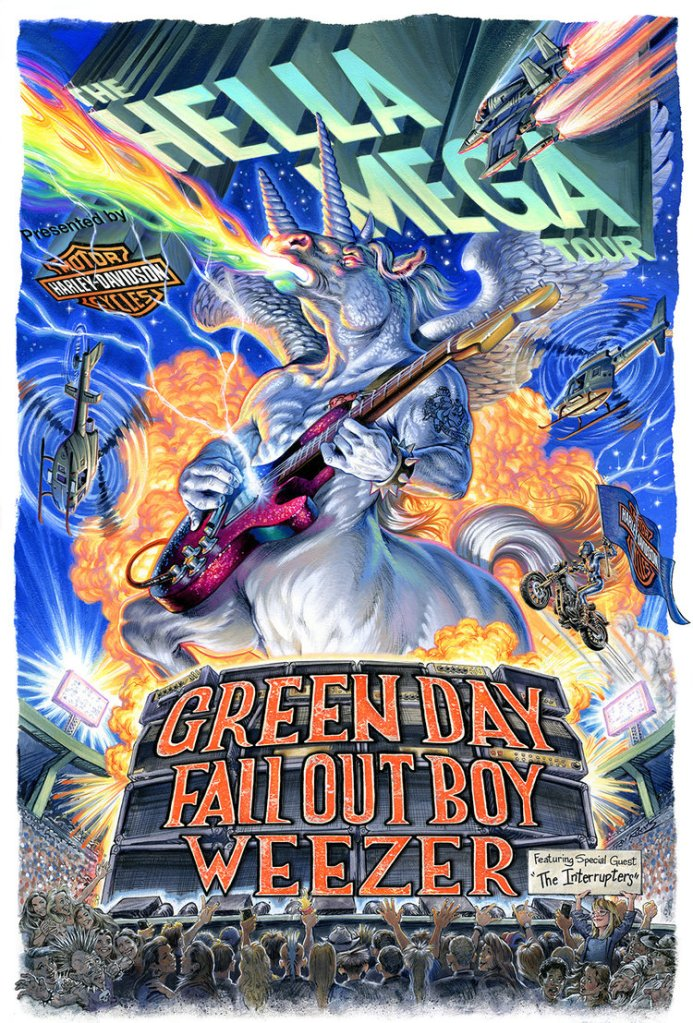 A flyer for the Hella Mega Tour featuring Green Day, Fall Our Boy, and Weezer.