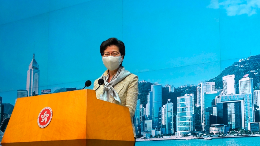 Hong Kong Chief Executive Carrie Lam listens to reporters' questions during a press conference in Hong Kong, Tuesday, June 30, 2020. Hong Kong media are reporting that China has approved a contentious law that would allow authorities to crack down on subversive and secessionist activity in Hong Kong, sparking fears that it would be used to curb opposition voices in the semi-autonomous territory.