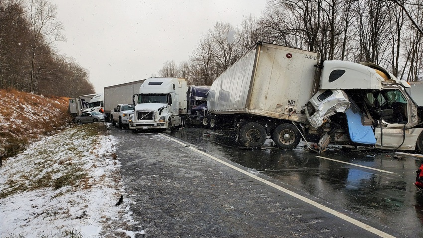 A massive pileup on I-80 in Pennsylvania