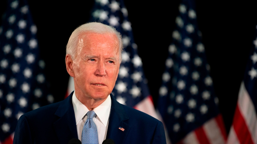 Presumptive Democratic presidential nominee and former Vice President Joe Biden speaks at Delaware State University's student center in Dover, Del., on June 5, 2020.