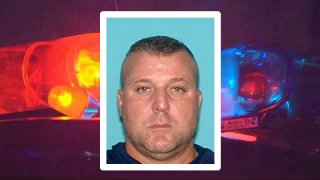 Jeffrey Reitz faces the camera. His picture is superimposed on a photo of police sirens.