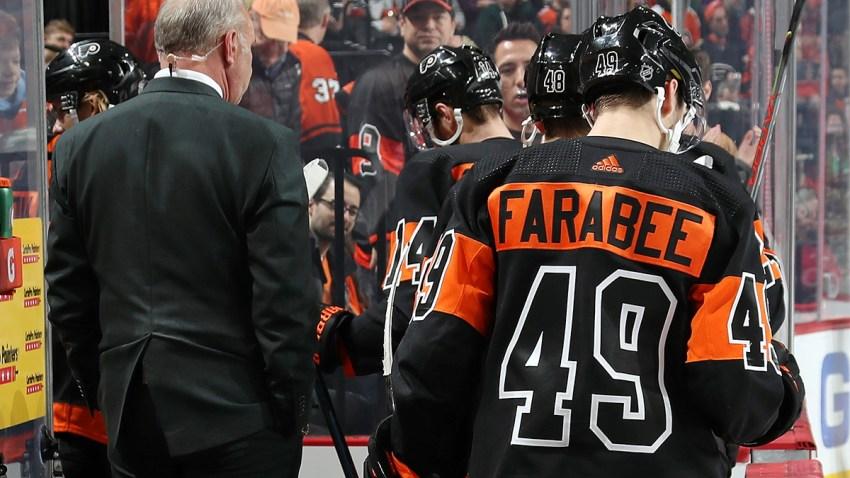 Joel Farabee exits the bench