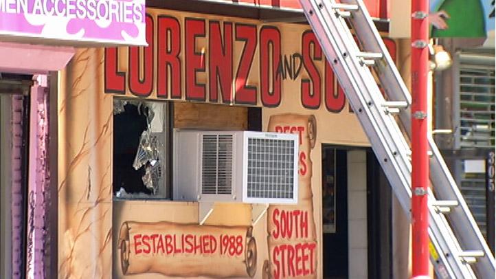 Lorenzos Pizza Fire Smashed Window