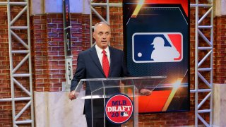 Major League Baseball Commissioner Robert D. Manfred Jr. makes an opening statement about #BlackLivesMatter and Major League Baseball during the 2020 Major League Baseball Draft at MLB Network on Wednesday, June 10, 2020 in Secaucus, New Jersey.