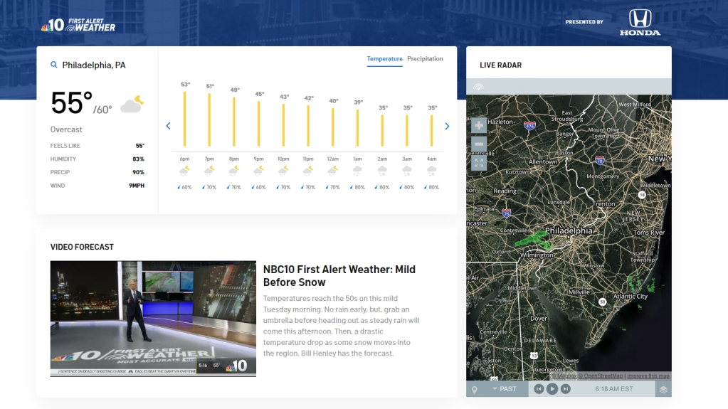 A look at the NBC10 weather page featuring the live radar and video forecast.