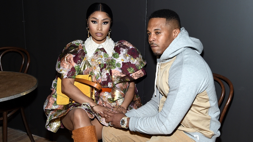 Nicki Minaj and husband Kenneth Petty attend the Marc Jacobs Fall 2020 runway show during New York Fashion Week, Feb. 12, 2020, in New York.