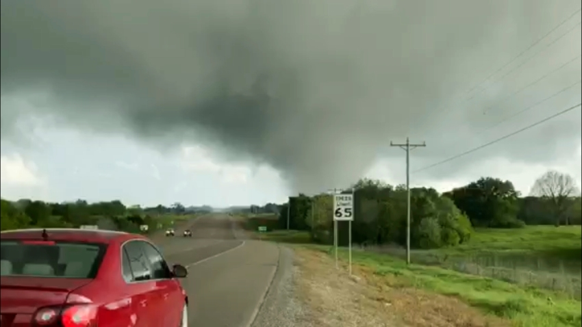 This image made from video provided by Thomas Marcum shows a tornado seen from State Highway 48 in Durant, Okla., Wednesday, April 22, 2020.
