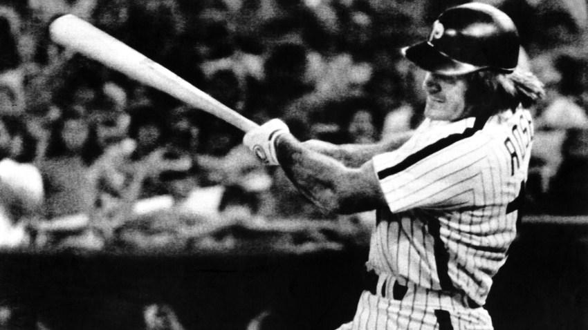Pete Rose swings bat.