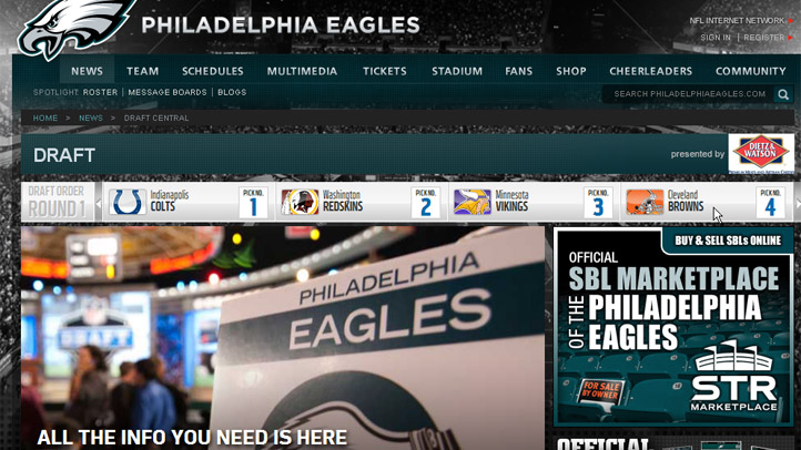 Philadelphia Eagles Website Draft