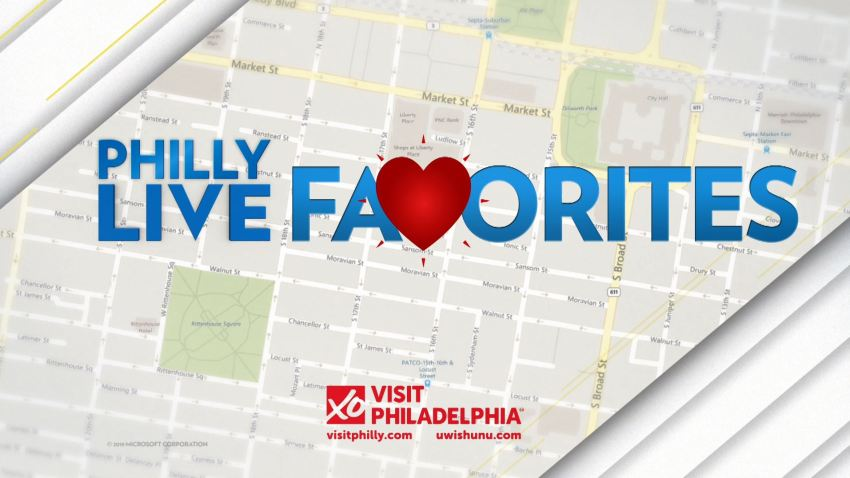 """Graphic showing map of Philadelphia with the words """"Philly Live Favorites"""" over it. Sponsored by Visit Philly."""