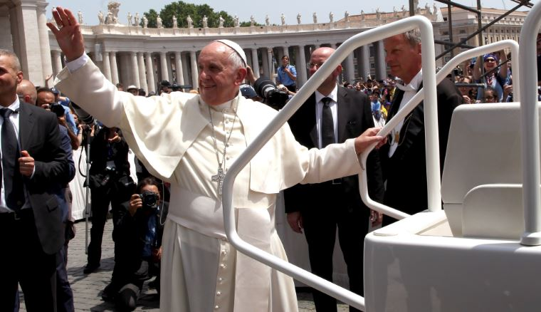 Pope francis Waves Pope Mobile