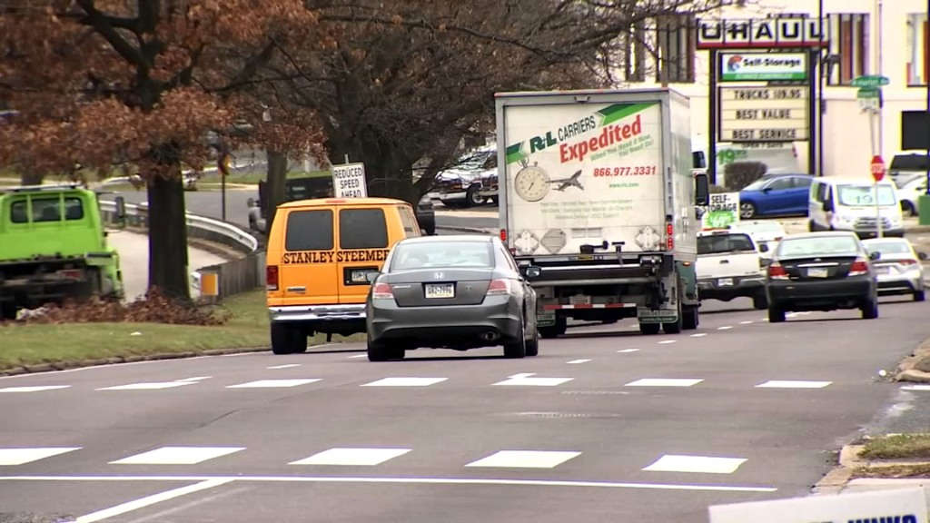 Cars and trucks travel southbound along Roosevelt Boulevard in Northeast Philadelphia