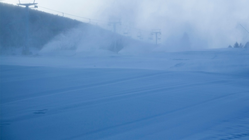 Snow being made.
