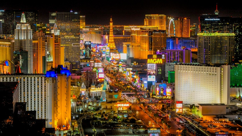 In this file photo, a view of the Las Vegas Strip, looking north from the Foundation Room atop the Mandalay Bay Hotel and Casino in Las Vegas on Monday, Nov. 2, 2015.