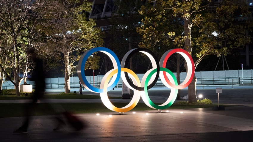 In this March 30, 2020, file photo, the Olympic rings are seen in Tokyo.