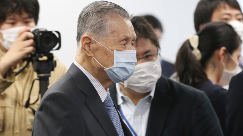 "Tokyo 2020 Organizing Committee President Yoshiro Mori arrives for the first meeting of the ""Tokyo 2020 New Launch Task Force"" in Tokyo, Thursday, March 26, 2020, two days after the unprecedented postponement was announced due to the spreading coronavirus."