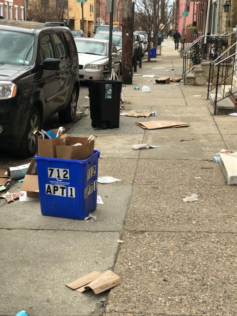 Litter strewn on a Philadelphia sidewalk