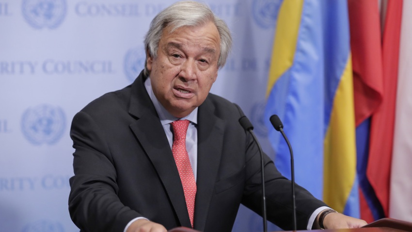 In this Aug. 10, 2018, file photo, Secretary-General Antonio Guterres speaks at the UN High Commissioner for Human Rights.