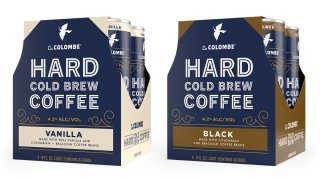 Two, four-packs of Hard Cold Brew Coffee from La Colombe. The Left is Vanilla the Right is Black.
