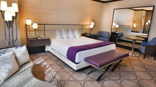 A newly-renovated hotel room at Harrah's Atlantic City