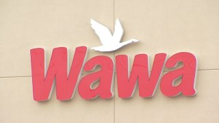 "A sign shows a white goose above red lettering reading ""Wawa."""
