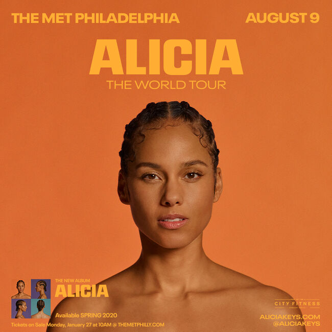A flyer for the Alicia Keys concert at The Met on August 9th.