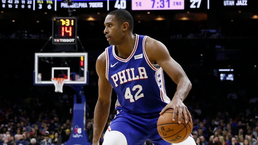 Philadelphia 76ers' Al Horford plays during an NBA basketball game against the Utah Jazz