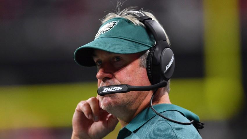 Philadelphia Eagles head coach Doug Pederson watches play