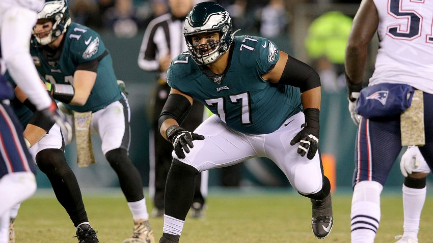 Philadelphia Eagles offensive tackle Andre Dillard (77) in action against the New England Patriots during an NFL football game