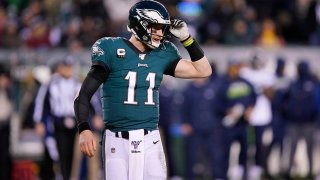 Philadelphia Eagles' Carson Wentz plays during the first half of an NFL wild-card playoff football game against the Seattle Seahawks, Sunday, Jan. 5, 2020, in Philadelphia.