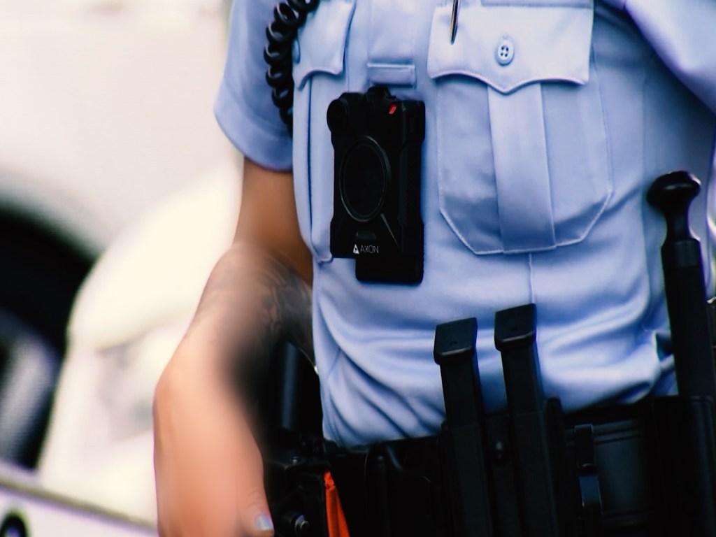 A police body-worn camera.