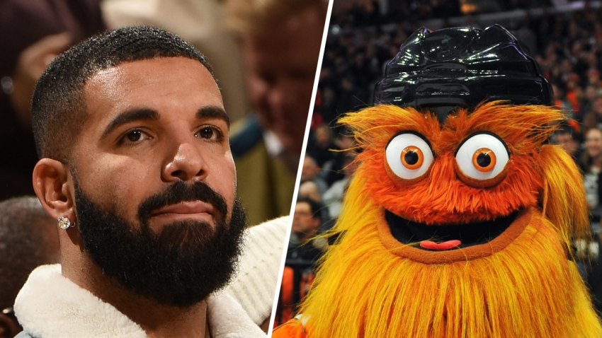The artist Drake (left) and Gritty (right), the official mascot for the Philadelphia Flyers National Hockey League team.