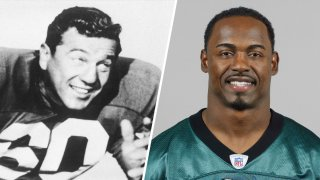 Chuck Bednarik as seen in this 1959 portrait, left; on right, Brian Dawkins poses for a 2005 headshot.