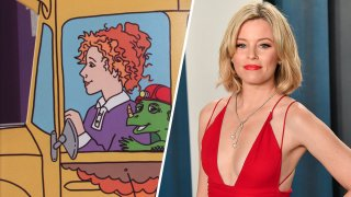 """(Left) Ms. Frizzle from """"The Magic School Bus"""", (Right) Elizabeth Banks."""