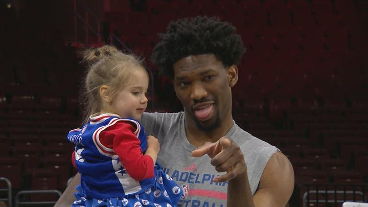 [CSNPhily] Watch: Joel Embiid makes his tiniest fan's day (but still no snowman)