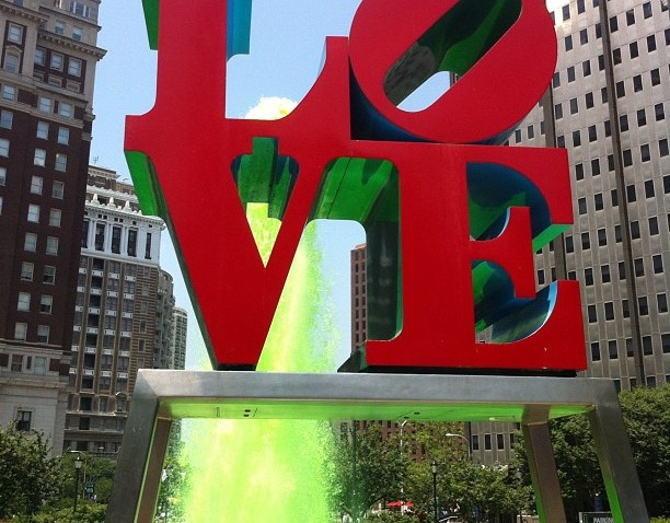 [phillygram] Why am I outside? The Love Park fountain is super green for green energy!