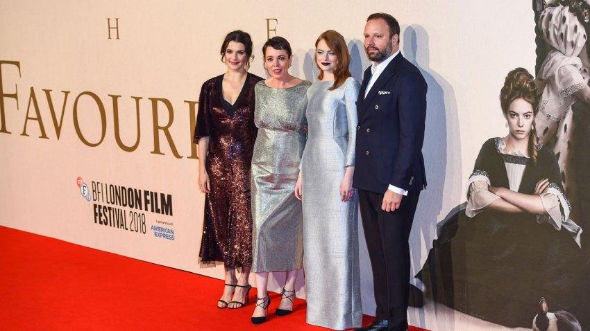 (L-R) Rachel Weisz, Olivia Colman, Emma Stone and Yorgos Lanthi
