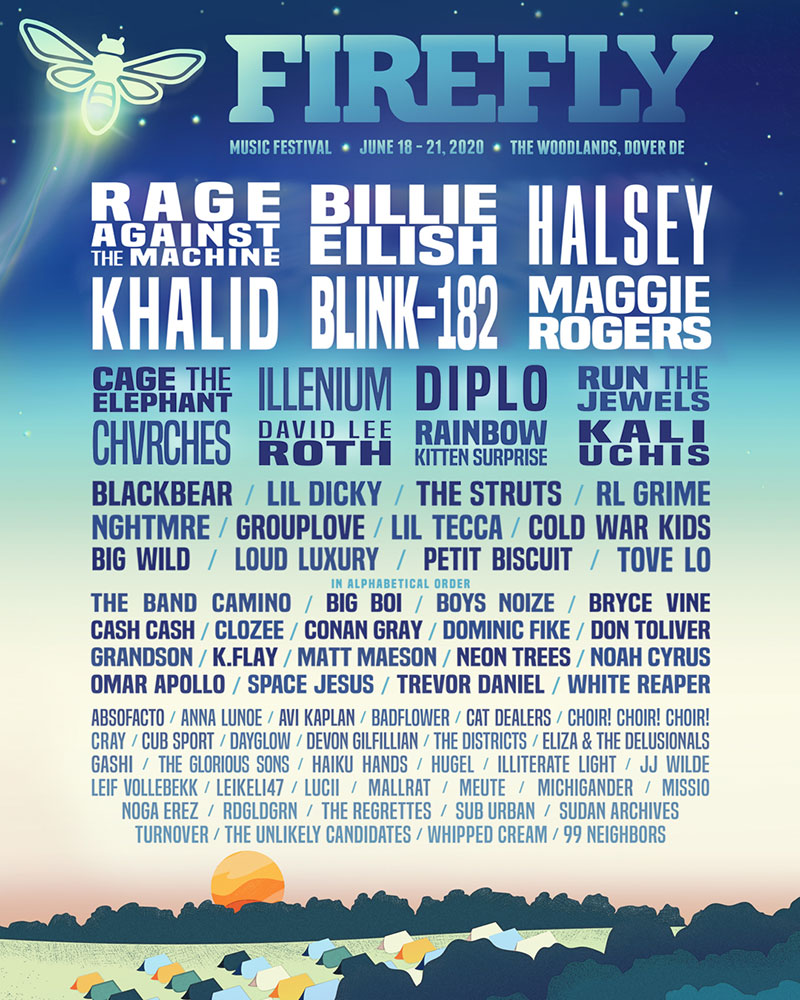 A flyre for the Firefly Music Festival listing headliners Rage Against the Machine, Billie Eilish, Halsey, Khalid, Blink 182, and Maggie Rogers. The rest of the acts are listed below the headliners.