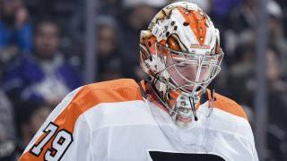Carter Hart #79 of the Philadelphia Flyers reacts to the game